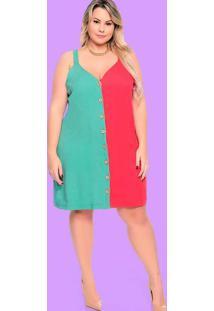 Vestido Almaria Plus Size Plump Curto Bicolor Verd
