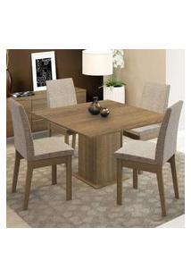 Conjunto Sala De Jantar Madesa Maitê Mesa Tampo De Madeira Com 4 Cadeiras Rustic/Fendi