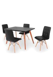 Conjunto Mesa De Jantar Gih 120X80Cm Preta Com 4 Cadeiras Gomos - Preto