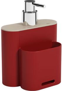 Dispenser Flat 500Ml 9X13X16,5Cm Vermelho Bold/Light Gray - 17002/3332 - Coza - Coza
