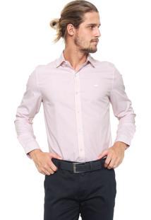Camisa Lacoste Reta Listrada Rosa