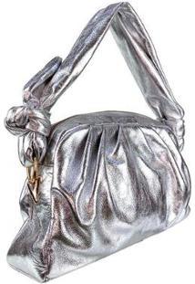 Bolsa Emporionaka Metalizada Transversal Feminina - Feminino-Prata