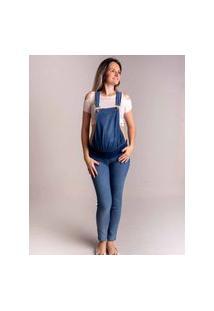 Macacão Jeans De Gestante Zoah Ref. 5080M Jeans Azul Claro