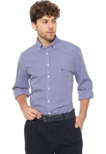 Camisa Dudalina Slim Xadrez Vichy Azul/Branca