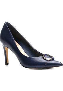 Scarpin Couro Shoestock Salto Alto Argola - Feminino-Marinho
