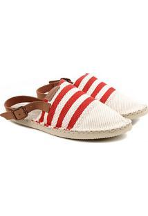 Alpargata Havaianas Origine Mule Strap Listrada - Feminino-Vermelho+Off White
