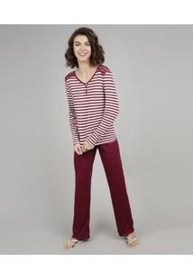 Pijama Feminino Listrado Com Renda Manga Longa Vinho