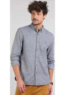 Camisa Masculina Com Bolso Manga Longa Cinza Mescla