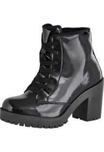 Bota Cano Curto Salto Médio Sapatofranca Ankle Boot Com Cadarço Preto