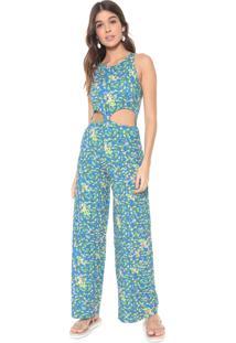 Macacão Redley Pantalona Jardim Azul/Verde
