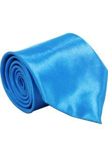 Gravata De Seda Lisa Unyforme Azul