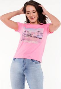 Blusa T-Shirt Vintage Cafe Pop Me - Rosa - Feminino - Dafiti