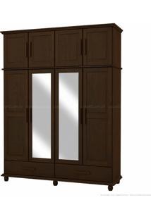 Guarda-Roupa Duplex Com Espelho Veneza 100% Madeira Maciça 8 Portas E 2 Gavetas Tabaco - Kitimar Móveis