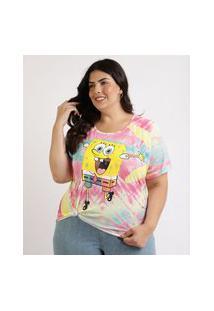 Blusa Feminina Plus Size Bob Esponja Estampada Tie Dye Manga Curta Decote Redondo Multicor