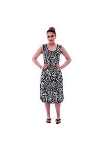 Camisola Ficalinda Longuete De Alça Com Viés Preto Em Estampa Animal Print De Zebra.