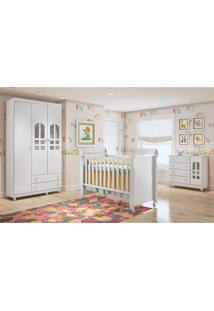 Dormitório Selena Guarda Roupa 3 Portas/Cômoda/Berço Mini Cama Mirelle Branco Carolina Baby - Tricae