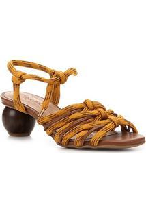 Sandália Shoestock Salto Baixo Redondo Feminina - Feminino-Caramelo+Dourado