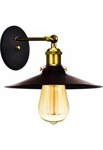 Arandela Industrial Vintage Nordic Loft Preto Com Dourado - Preto - Dafiti