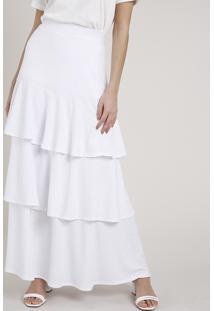 Saia Feminina Mindset Longa Canelada Em Camadas Branca