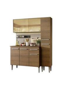 Cozinha Compacta Madesa Emilly Gold Com Armário, Balcão E Paneleiro Rustic