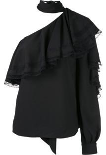 Ingie Paris Blusa Assimétrica Com Babados - Preto