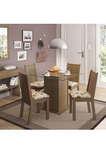 Conjunto De Mesa Com 4 Cadeiras Lucy Rustic E Floral Hibiscos