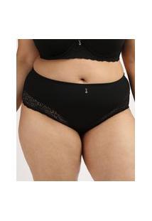 Calcinha Feminina Dilady Plus Size Cintura Alta Microfibra Com Renda E Pingente Preta
