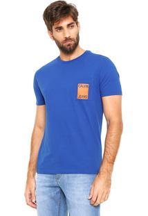 Camiseta Calvin Klein Jeans Com Bolso Azul