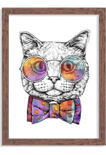 Quadro Decorativo Gato Com Gravata Borboleta Madeira - Médio