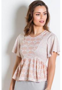 Blusa Peplum Rosê Com Franzido Moda Evangélica