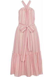 Three Graces Vestido Longo Listrado - Rosa