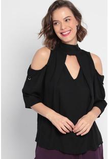 Blusa Lisa Com Sobreposição - Preta- Ennaenna