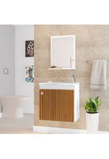 Conjunto Para Banheiro Siena Branco E Marrom