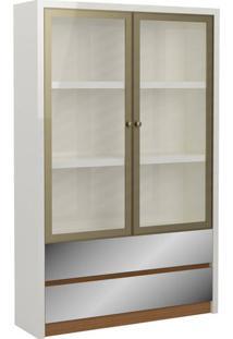 Armario De Escritorio Viena 1,20 Mt Com 2 Porta Champanhe De Aluminio Cor Off White Com Freijo - 52405 - Sun House