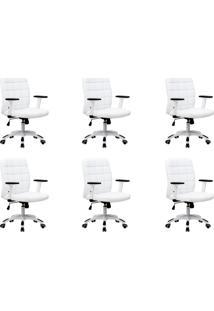 Conjunto Com 6 Cadeiras De Escritório Diretor Premium Fitz Branco