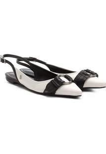 Sapatilha Santa Lolla Chanel Fivela Redonda Feminina - Feminino-Branco+Preto