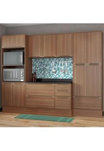 Cozinha Compacta 13 Portas Com Tampo E Rodapé 5452R Nogueira/Malt - Multimóveis