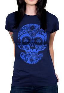 Camiseta Baby Look Hshop Caveira Mexicana Azul