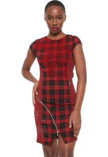 Vestido Desigual Curto Roma Preto/Vermelho