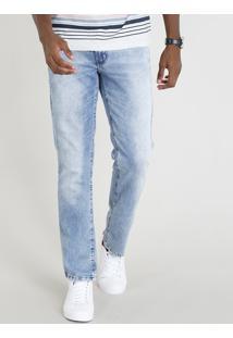 Calça Jeans Masculina Reta Com Bolsos Azul Claro