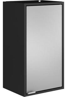 Armário Multiuso Smart 1 Porta - Itatiaia Móveis Cor:Preto/Cinza