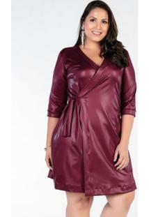 Vestido Envelope Vinho Em Cirrê Plus Size