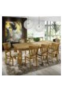 Jogo Mesa De Jantar Fiore 200Cm Com 08 Cadeiras Vitte Oregon Linho Rústico Bege Claro - Gran Belo