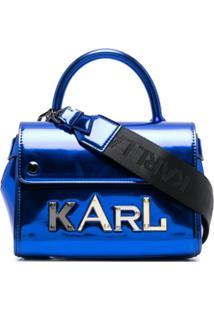 Karl Lagerfeld Bolsa Tiracolo K/Letters Metálica - Azul