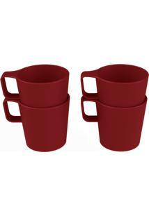 Conjunto 4 Canecas Empilháveis Casual 8 X 6 X 6,5 Cm 125 Ml Vermelho Bold Coza