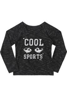 "Blusa ""Cool Sports"" - Cinza Escuro & Prateada - Marimarisol"