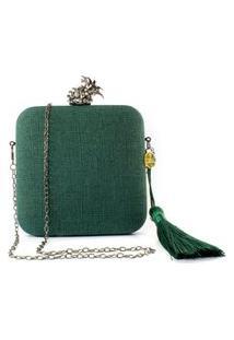 Bolsa Pequena Clutch Festa Mini Bag Quadrada Verde Abacaxi