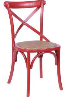 Cadeira Cross- Vermelha & Bege- 89X22X49Cm- Or Dor Design