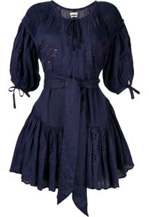Innika Choo Vestido Meg Nettick Com Bordado Floral - Azul