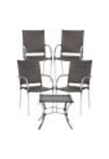 Jogo Cadeiras 4Un E Mesa De Centro Polonia Para Edicula Jardim Area Varanda Descanso - Tabaco